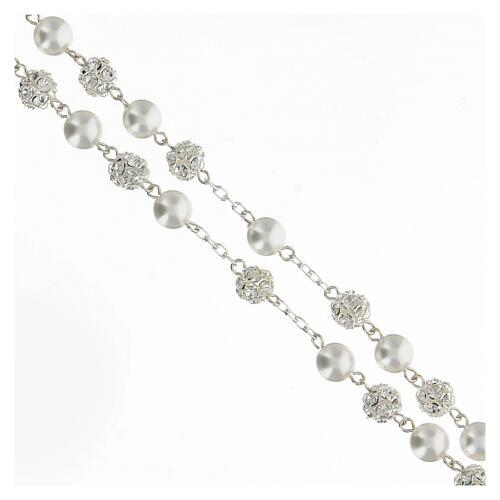Terço prata 925 com contas pérolas e cristal 8 mm e passador com passador Nossa Senhora e Jesus 3