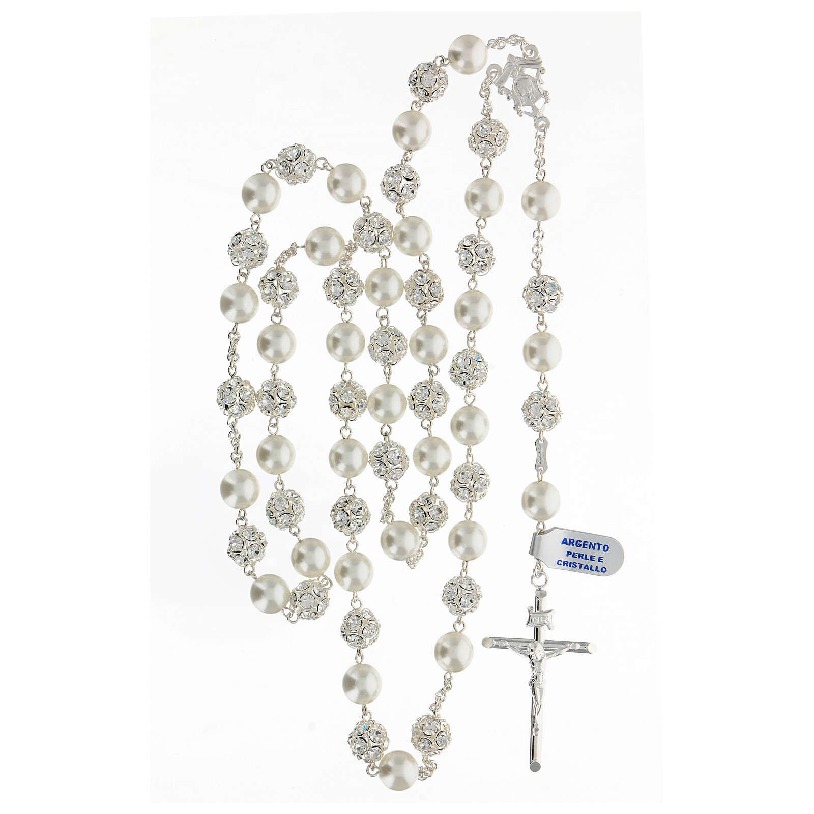 Rosario argento 925 grani 10 mm perle cristalli bianchi crocefisso 4