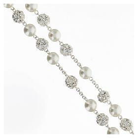 Rosario argento 925 grani 10 mm perle cristalli bianchi crocefisso s3