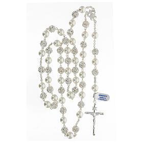 Rosario argento 925 grani 10 mm perle cristalli bianchi crocefisso s4