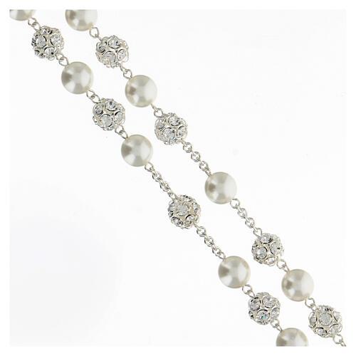Rosario argento 925 grani 10 mm perle cristalli bianchi crocefisso 3