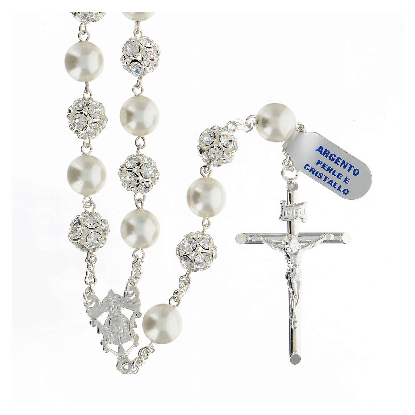 Terço prata 925 com contas pérolas e cristal 10 mm e crucifixo tubular 4