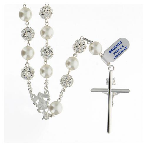 Terço prata 925 com contas pérolas e cristal 10 mm e crucifixo tubular 2