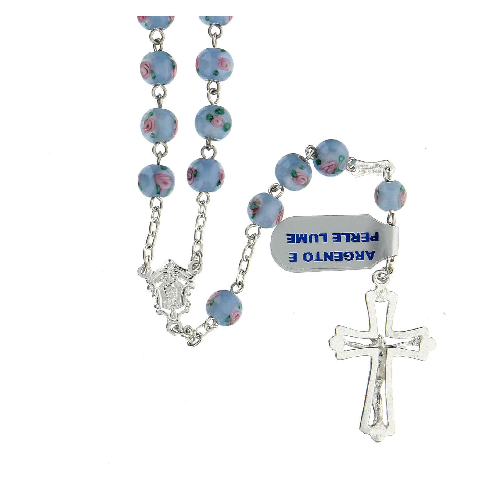 Rosario argento 925 perle al lume 6 mm azzurro croce traforata 4