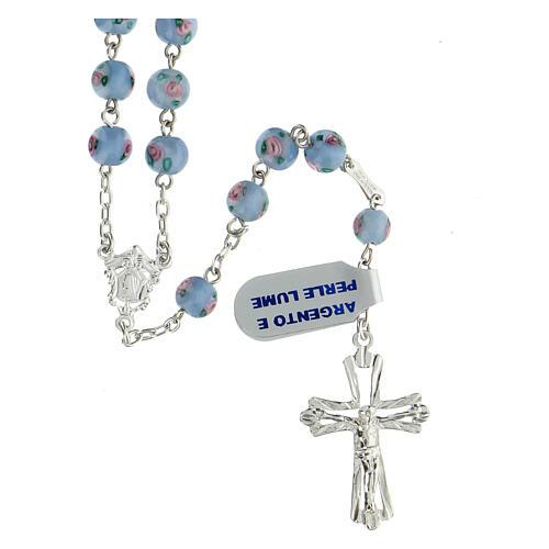 Rosario argento 925 perle al lume 6 mm azzurro croce traforata 1