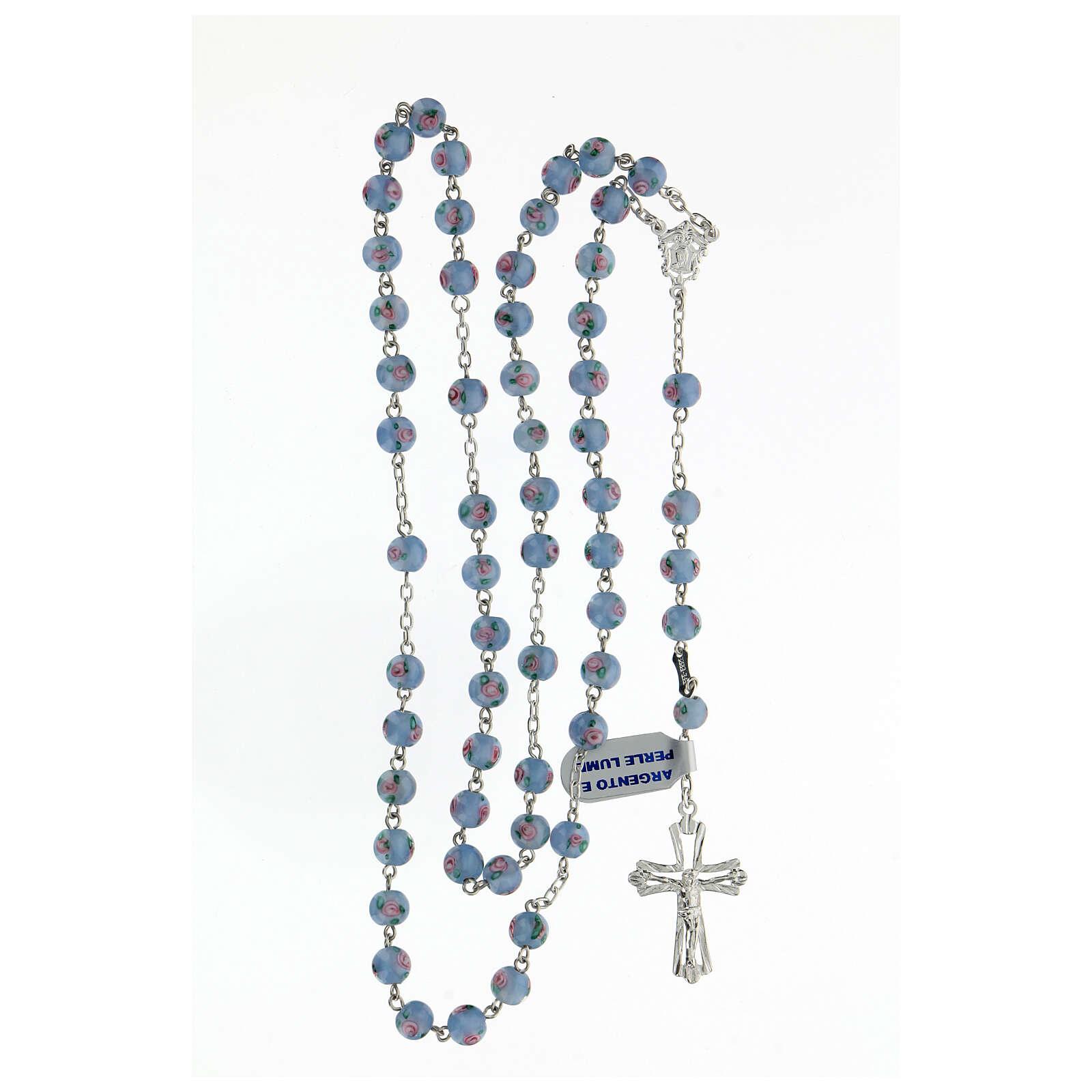 Terço prata 925 pérolas de vidro 6 mm azuis e cruz perfurada 4