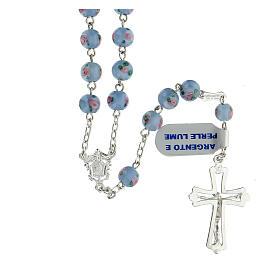 Terço prata 925 pérolas de vidro 6 mm azuis e cruz perfurada s2