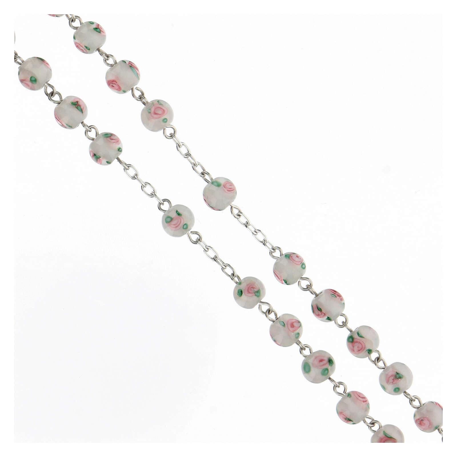 Rosario perlas blancas granos 6 mm plata 925 cruz decorada 4