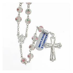 Rosario perlas blancas granos 6 mm plata 925 cruz decorada s1