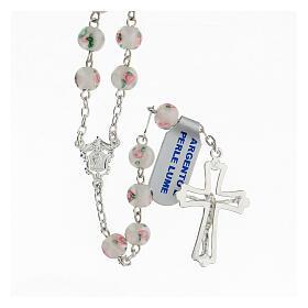Rosario perlas blancas granos 6 mm plata 925 cruz decorada s2