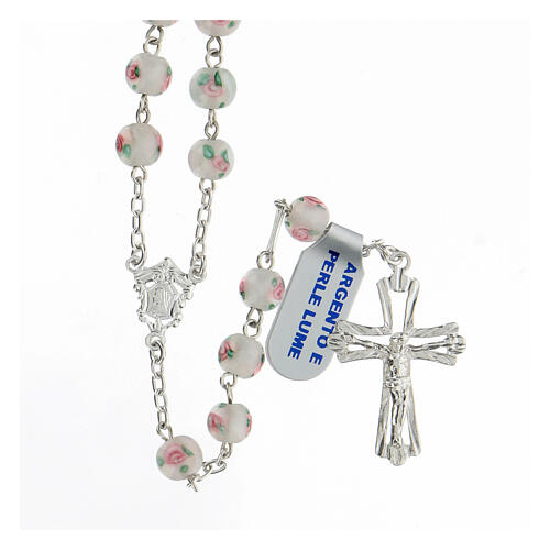 Rosario perlas blancas granos 6 mm plata 925 cruz decorada 1