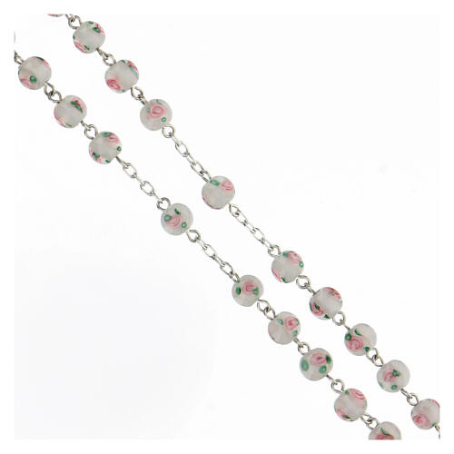 Rosario perlas blancas granos 6 mm plata 925 cruz decorada 3