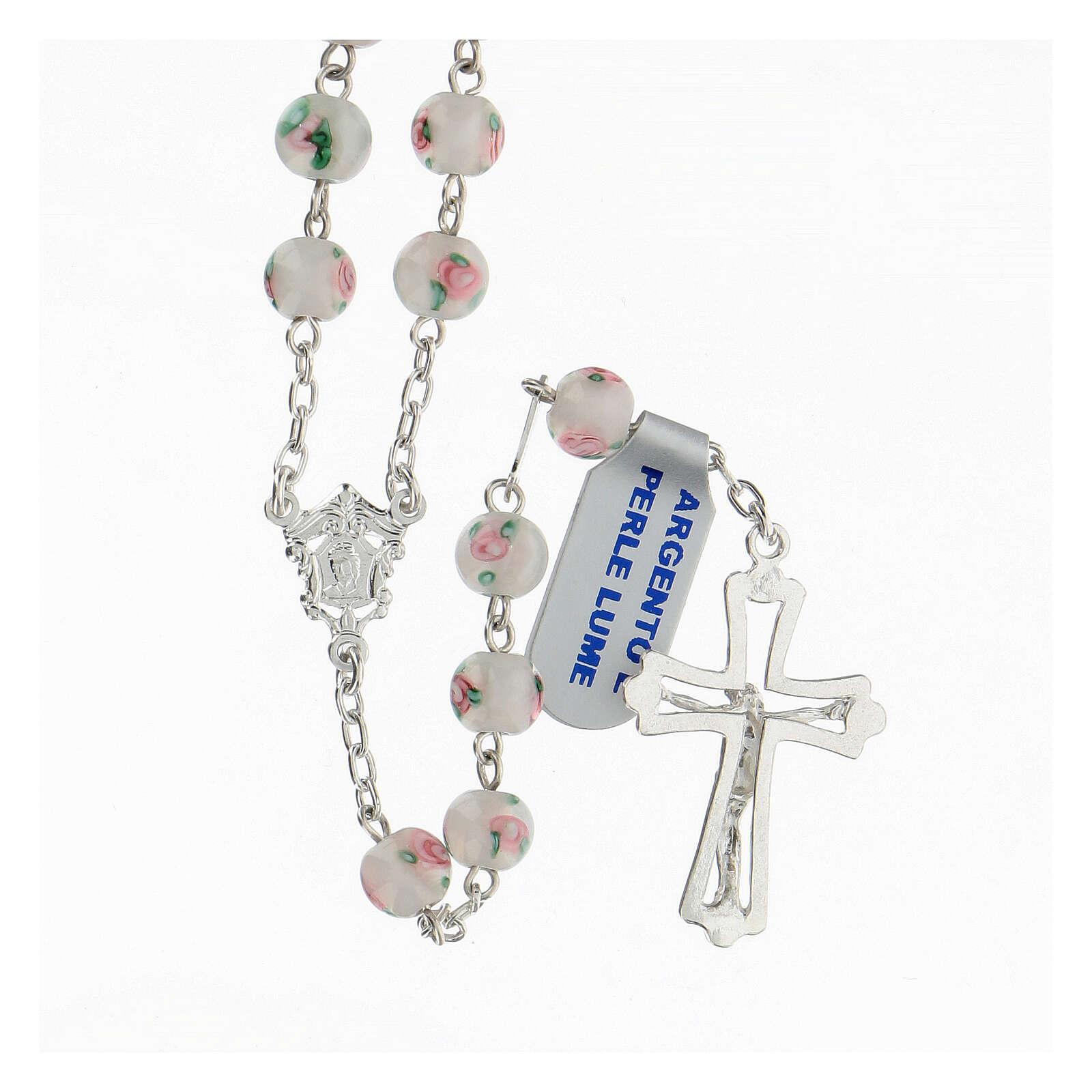 Rosario perle al lume bianche grani 6 mm argento 925 croce ornata 4