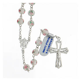 Rosario perle al lume bianche grani 6 mm argento 925 croce ornata s1