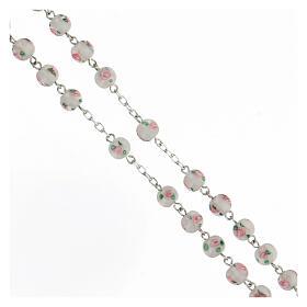 Rosario perle al lume bianche grani 6 mm argento 925 croce ornata s3