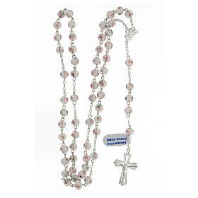 Rosario perle al lume bianche grani 6 mm argento 925 croce ornata s4