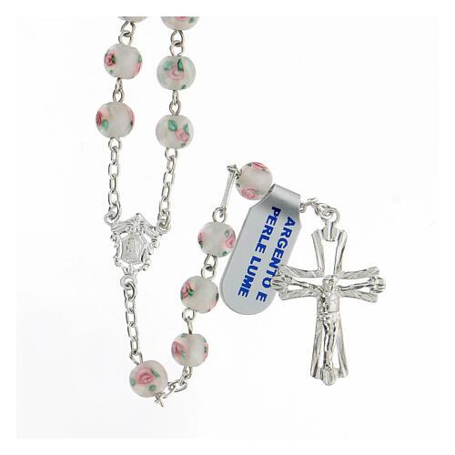 Rosario perle al lume bianche grani 6 mm argento 925 croce ornata 1