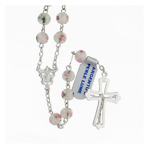 Rosario perle al lume bianche grani 6 mm argento 925 croce ornata 2