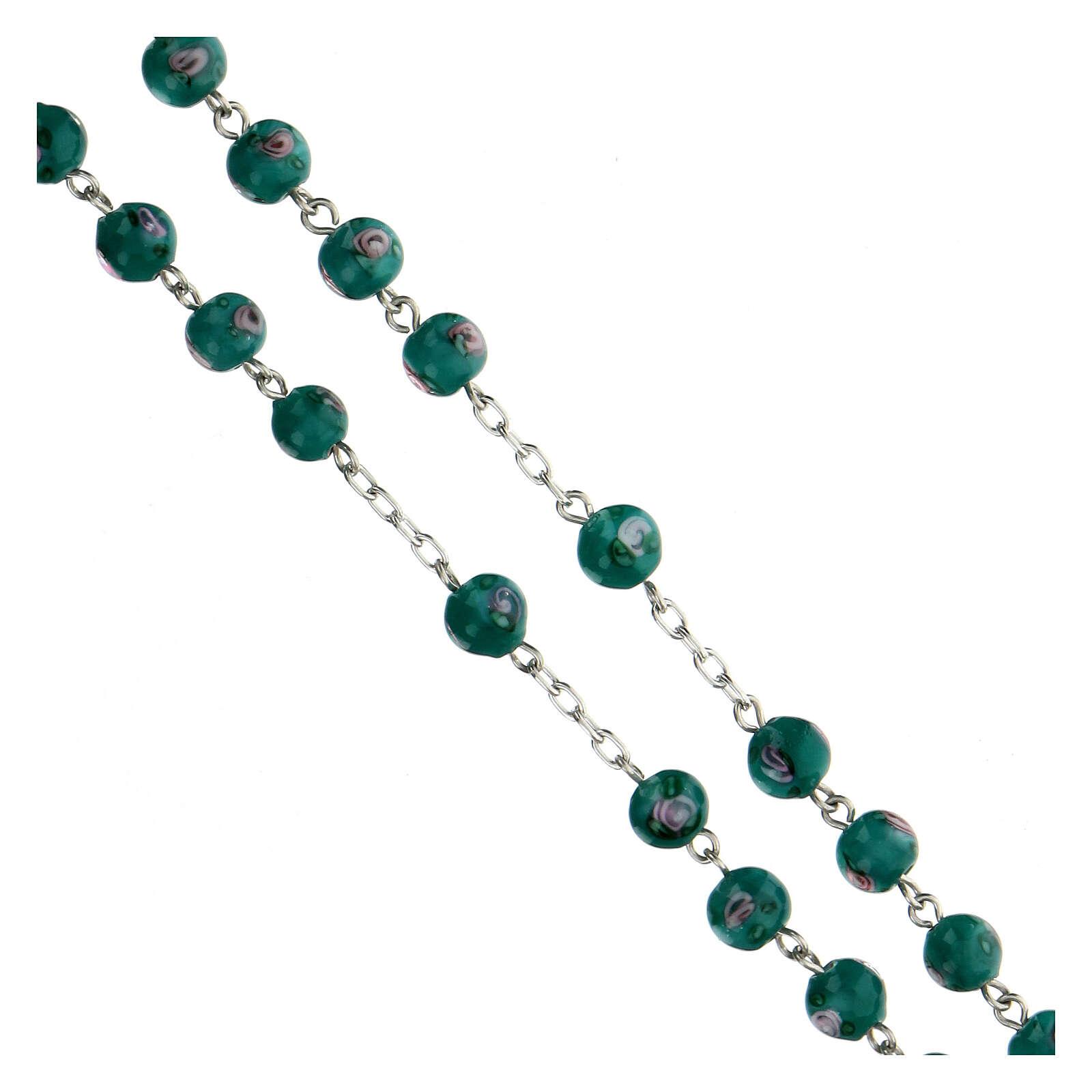 Rosario plata 925 granos perlas verde 6 mm rosas cruz perforada 4