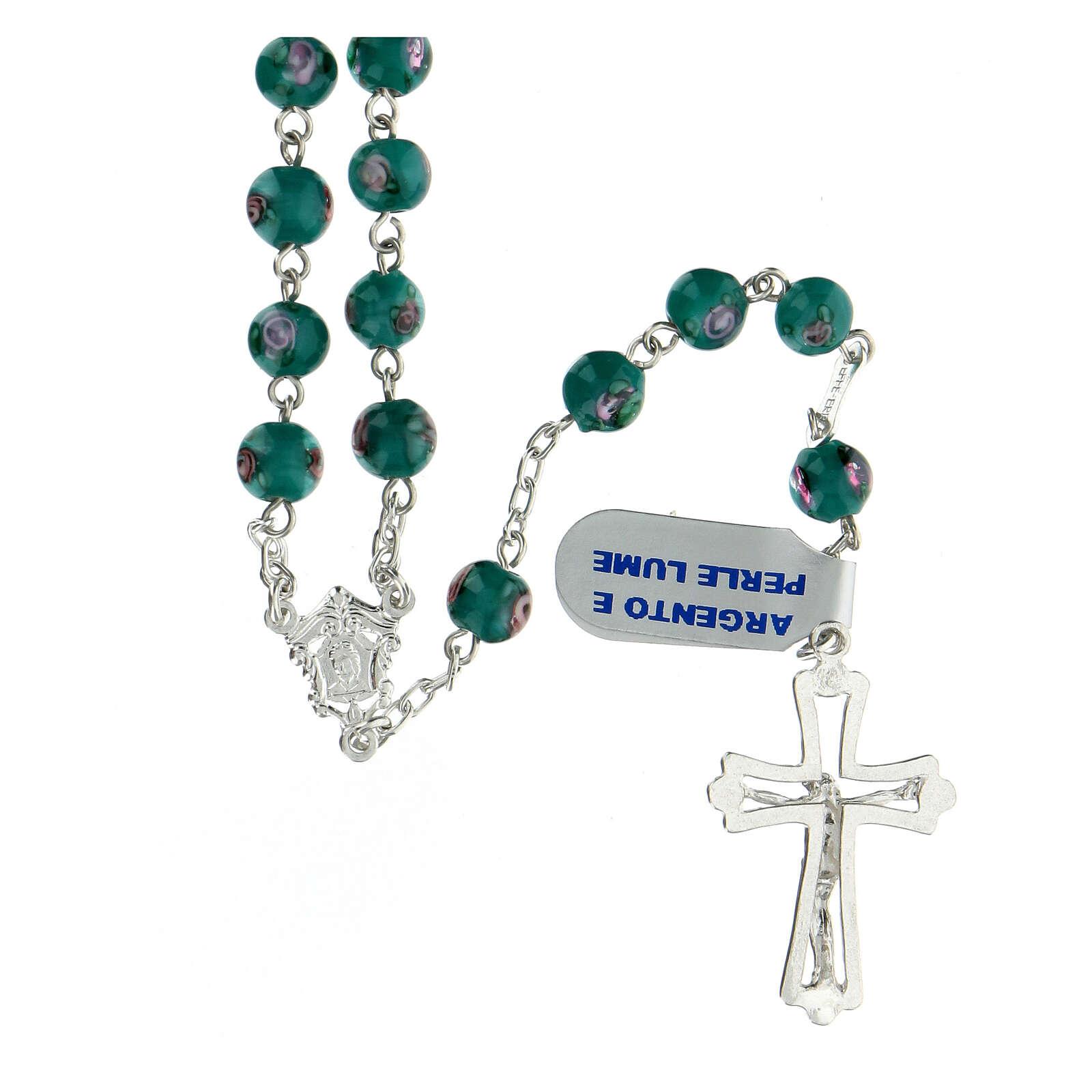 Rosario argento 925 grani perle al lume verde 6 mm rose croce traforata 4