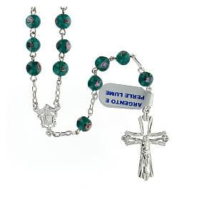 Rosario argento 925 grani perle al lume verde 6 mm rose croce traforata s1