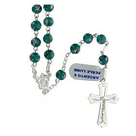 Rosario argento 925 grani perle al lume verde 6 mm rose croce traforata s2