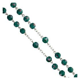 Rosario argento 925 grani perle al lume verde 6 mm rose croce traforata s3