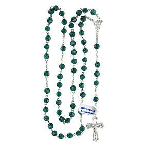 Rosario argento 925 grani perle al lume verde 6 mm rose croce traforata s4