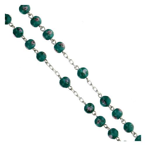 Rosario argento 925 grani perle al lume verde 6 mm rose croce traforata 3