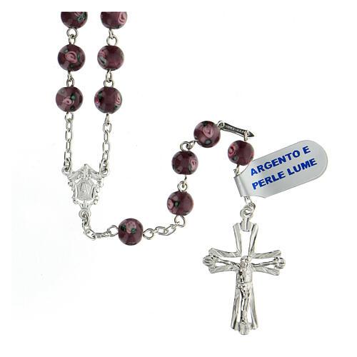 Rosario cruz perforada plata 925 granos perlas 6 mm violeta 1
