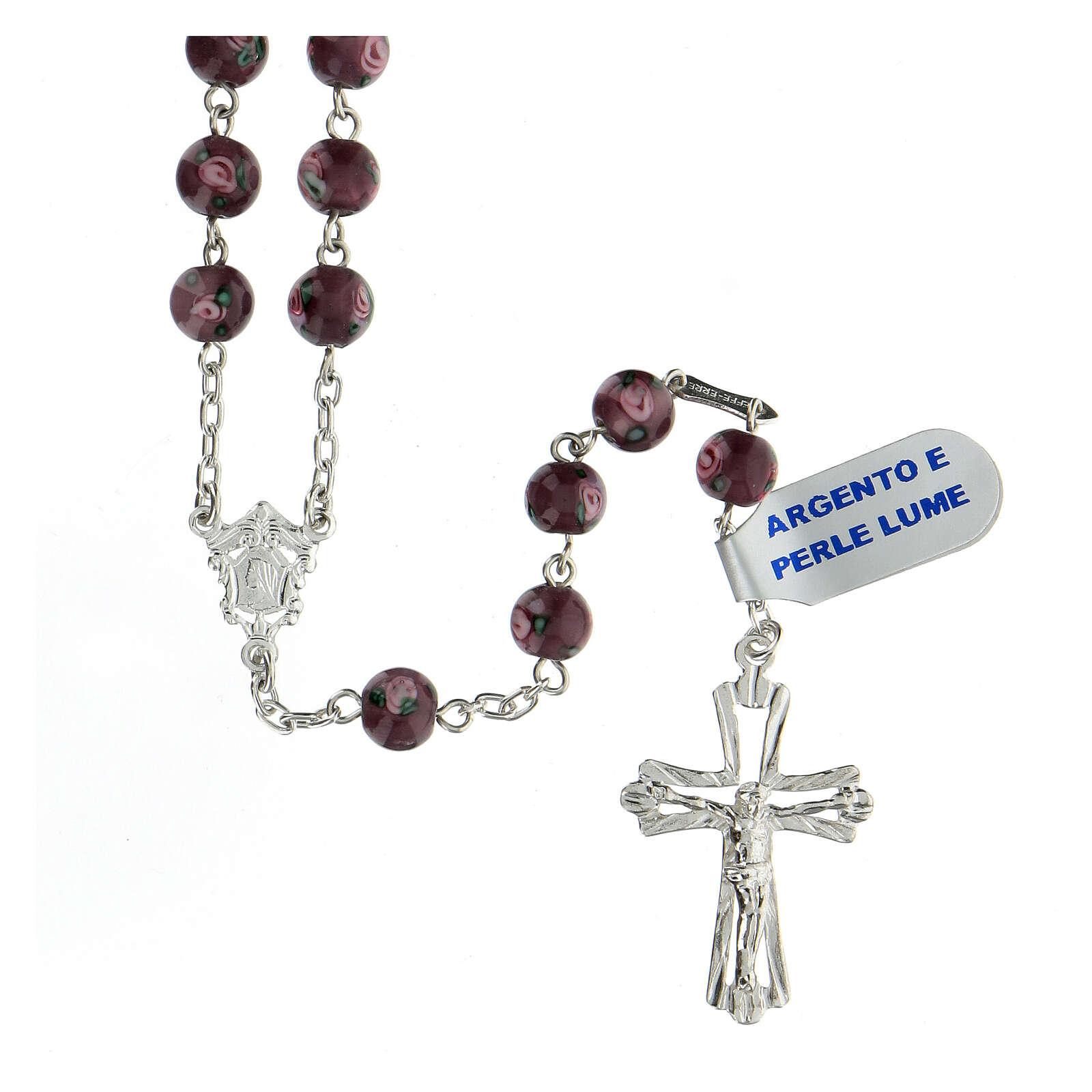 Rosario croce traforata argento 925 grani perle al lume 6 mm viola 4