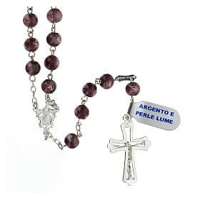 Rosario croce traforata argento 925 grani perle al lume 6 mm viola s2