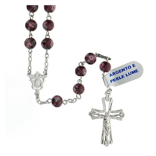Rosario croce traforata argento 925 grani perle al lume 6 mm viola 1