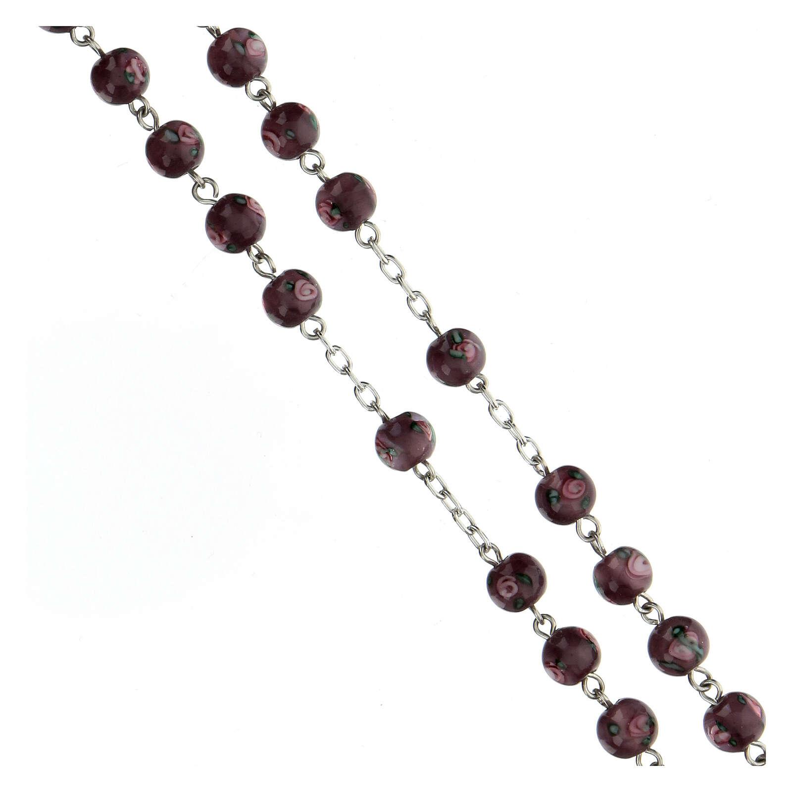 Terço prata 925 pérolas de vidro 6 mm roxas e cruz perfurada 4