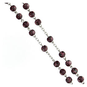 Terço prata 925 pérolas de vidro 6 mm roxas e cruz perfurada s3
