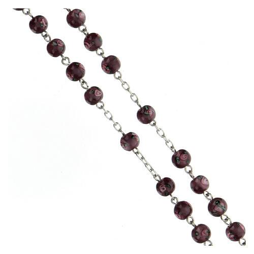 Terço prata 925 pérolas de vidro 6 mm roxas e cruz perfurada 3