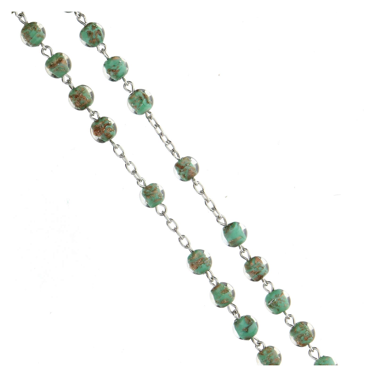Terço prata 925 pérolas de vidro 6 mm verde e ouro 4