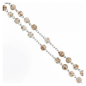 Rosario granos 6 mm perlas vidrio blanco oro cruz plata 925 s3