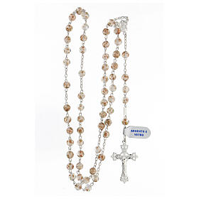 Rosario granos 6 mm perlas vidrio blanco oro cruz plata 925 s4