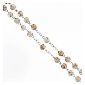 Chapelet grains 6 mm perles verre blanc or croix argent 925 s3
