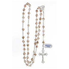 Chapelet grains 6 mm perles verre blanc or croix argent 925 s4