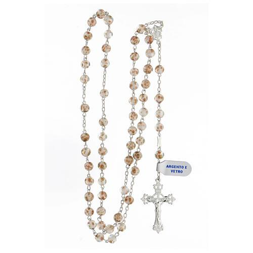 Chapelet grains 6 mm perles verre blanc or croix argent 925 4