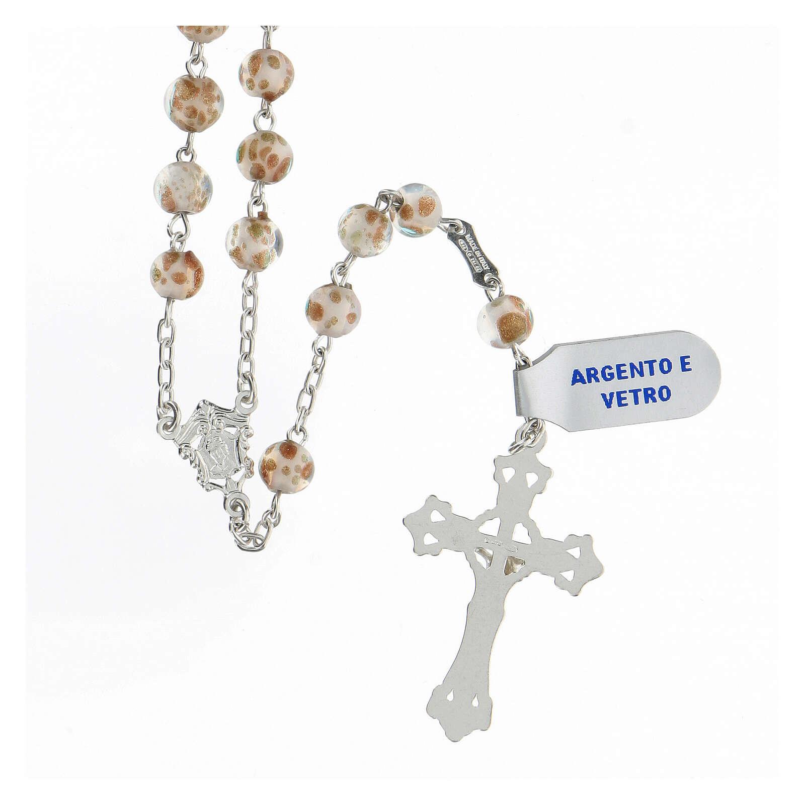 Rosario grani 6 mm perle vetro bianco oro croce argento 925 4
