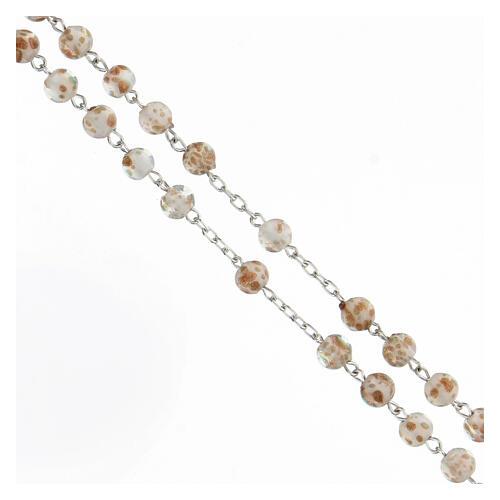 Rosario grani 6 mm perle vetro bianco oro croce argento 925 3
