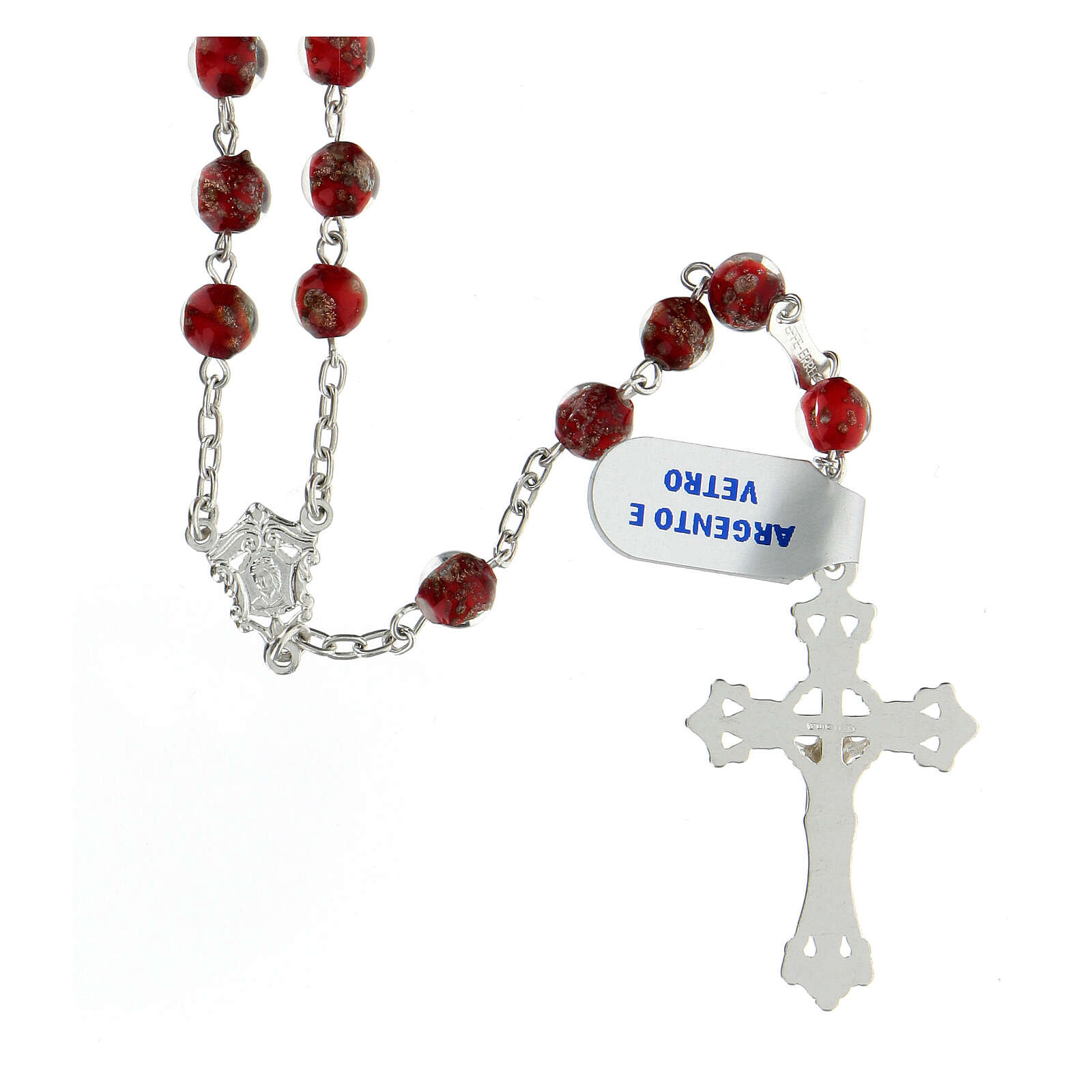 Rosario plata 925 granos perlas rojo oro vidrio 6 mm 4