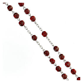 Rosario plata 925 granos perlas rojo oro vidrio 6 mm s3