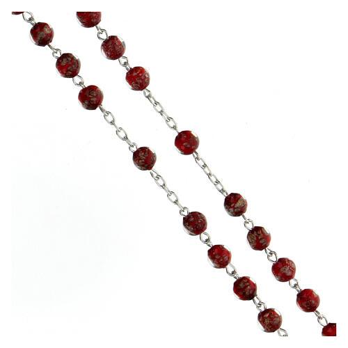 Rosario argento 925 grani perle rosso oro vetro 6 mm 3