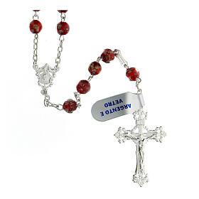 Terço prata 925 pérolas de vidro 6 mm vermelho e ouro com cruz decorada s1