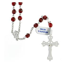 Terço prata 925 pérolas de vidro 6 mm vermelho e ouro com cruz decorada s2