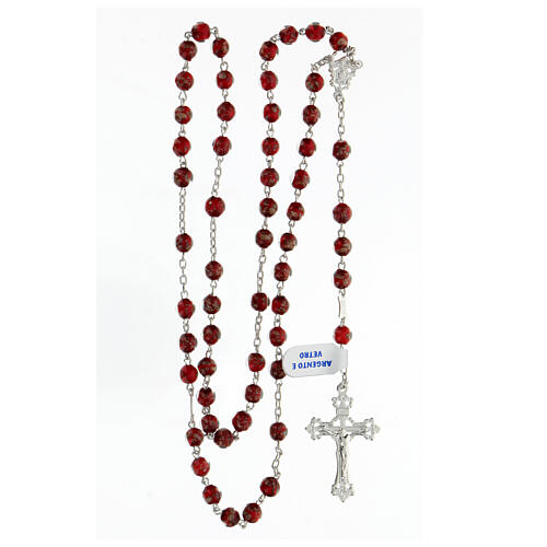 Terço prata 925 pérolas de vidro 6 mm vermelho e ouro com cruz decorada 4